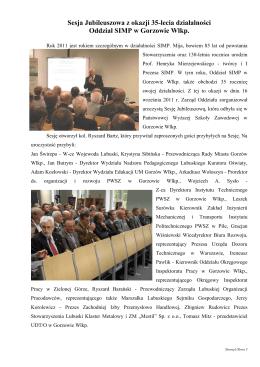 Sesja Jubileuszowa z okazji 35-lecia działalności Oddział SIMP w