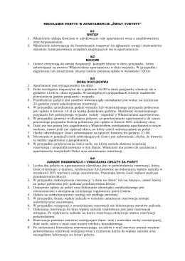 regulamin apartamentu - Apartament Świat Turysty