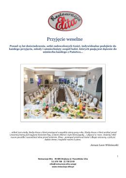 Przyjęcie weselne - Restauracja Elita