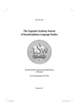 LSW Journal vol 2.pdf - Lingwistyczna Szkoła Wyższa w Warszawie
