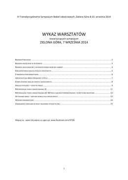 pobierz PDF - iii transdyscyplinarne sympozjum badań jakościowych