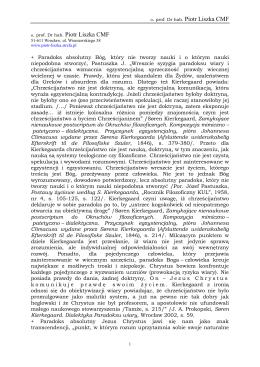 Paradoks - prof. Dr hab. Piotr Liszka CMF