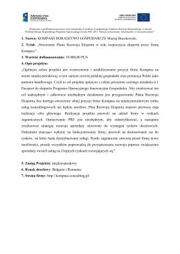 KOMPASS DORADZTWO GOSPODARCZE Maciej Buczkowski. 2