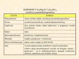 kordieryt, serpentyn, chlorytoid, amfibole sk. metamorficznych