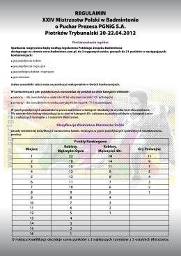 REGULAMIN XXIV Mistrzostw Polski w Badmintonie o