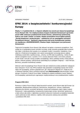EFNI 2014: o bezpieczeństwie i konkurencyjności Europy