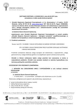 Treść zapytania - Ośrodek Wspierania Organizacji Pozarządowych