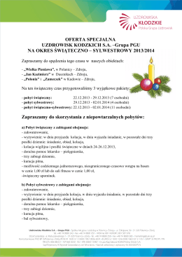 OFERTA SPECJALNA UZDROWISK KODZKICH S.A. –Grupa PGU