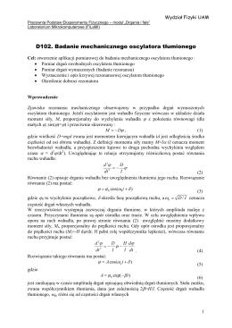 D102. Badanie mechanicznego oscylatora tłumionego