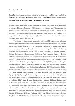 Sprawozdanie - Instytut Informacji Naukowej i Bibliotekoznawstwa UP