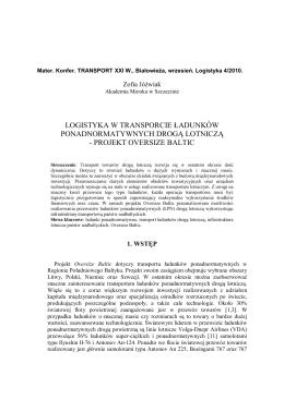 LOGISTYKA W TRANSPORCIE ŁADUNKÓW