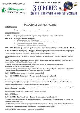 PROGRAM MERYTORYCZNY* - Świat Przemysłu Farmaceutycznego
