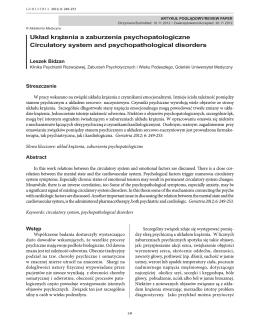 Układ krążenia a zaburzenia psychopatologiczne Circulatory system