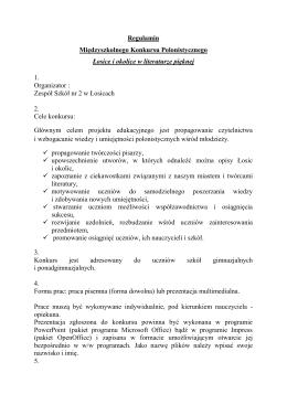 Regulamin kunkursu. - Zespół Szkół nr 2 w Łosicach