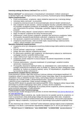 Instrukcja obsługi dla Derma LiteCheck®Stan na 02/12 Derma