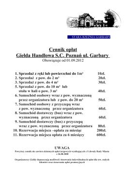 CENNIK DLA WYSTAWCÓW - Giełda Stara Rzeźnia Garbary, Poznań
