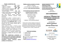 """xxiv konferencji """"aktualia i perspektywy gospodarki surowcami"""