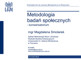 Metodologia badań społecznych - Zakład Metodologii Nauk o Edukacji