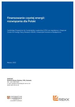 Finansowanie czystej energii - Cambridge Institute for Sustainability
