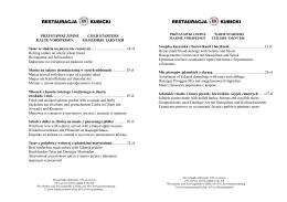 karta menu - Restauracja Kubicki