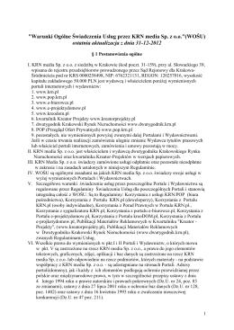 """""""Warunki Ogólne Świadczenia Usług przez KRN media Sp"""