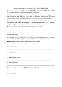 Deklaracja Członkowska WARSZAWSKIEGO KLUBU KOLARSKIEGO