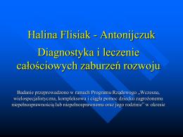 Diagnostyka i leczenie całościowych zaburzeń rozwoju