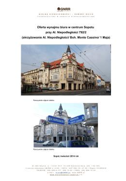 Oferta wynajmu biura w centrum Sopotu przy Al. Niepodległości 792/2