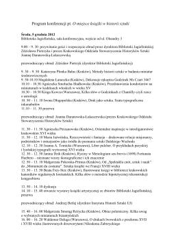 Program konferencji pt. O miejsce książki w historii