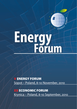 V ENERGY FORUM Sopot – Poland, - November,  XX ECONOMIC