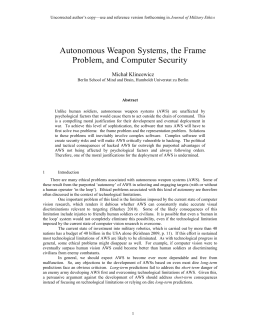 Autonomous Weapon Systems, the Frame Problem, and Computer