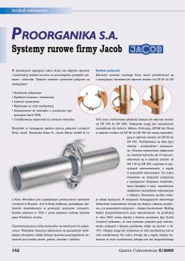 Systemy rurowe firmy Jacob - Gazeta Cukrownicza Nr