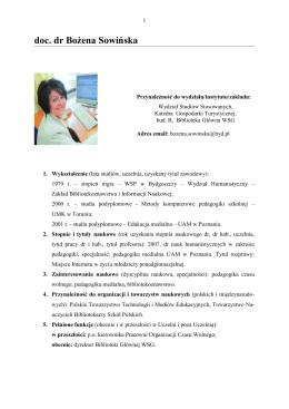 doc. dr Bożena Sowińska - O Instytucie Nauk Społecznych