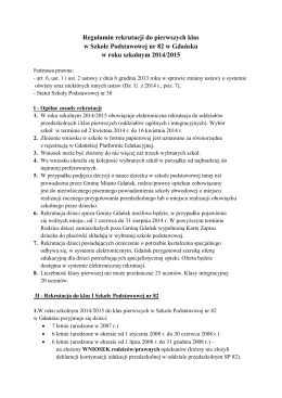 Regulamin rekrutacji do pierwszych klas w Szkole Podstawowej nr