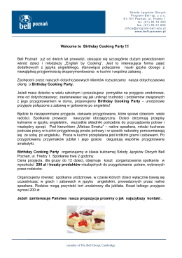 Welcome to Birthday Cooking Party !!! Bell Poznań - Program-Bell