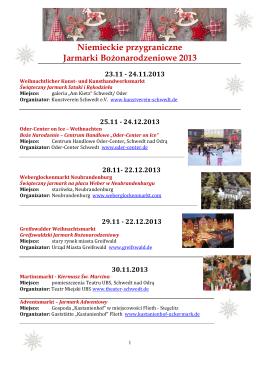 Niemieckie Jarmarki Bożonarodzeniowe 2013