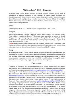 """AKCJA """"Lato"""" 2013 – Rumunia - Akademicki Klub Górski """"Halny"""