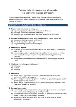 Test kompetencji z przedmiotu informatyka dla ucznia