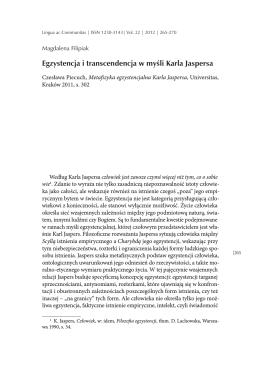 Egzystencja i transcendencja w myśli Karla Jaspersa