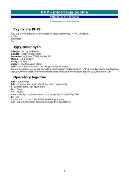 PHP - informacje ogólne