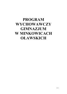 Program wychowawczy PG - Zespół Szkół w Minkowicach