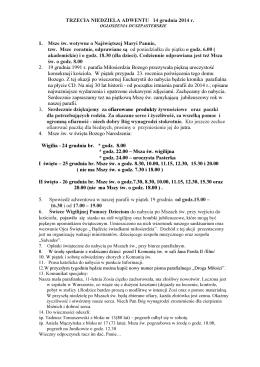 OGŁOSZENIA Z DNIA 14.12.2014r - Sanktuarium Miłosierdzia