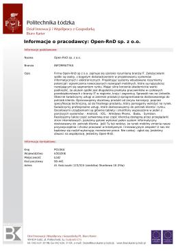 Informacje o pracodawcy: Open-RnD sp. z o.o.