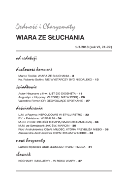 WIARA ZE SŁUCHANIA - Ruch Focolari w Polsce