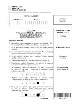 egzamin w klasie trzeciej gimnazjum z języka
