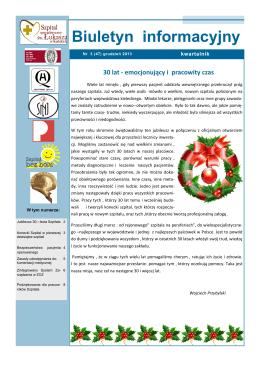 biuletyn grudzień 2013 - Szpital Specjalistyczny św. Łukasza w