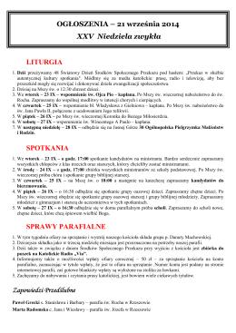OGŁOSZENIA – 21 września 2014 XXV Niedziela zwykła LITURGIA