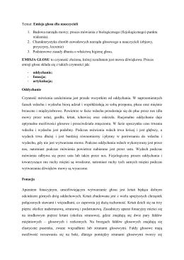 Temat: Emisja głosu dla nauczycieli 1. Budowa narządu mowy