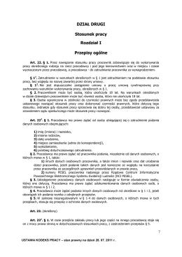 Kodeks Pracy stan na 28.07.2011 dział 2