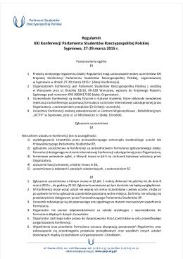 Regulamin XXI Konferencji Parlamentu Studentów Rzeczypospolitej